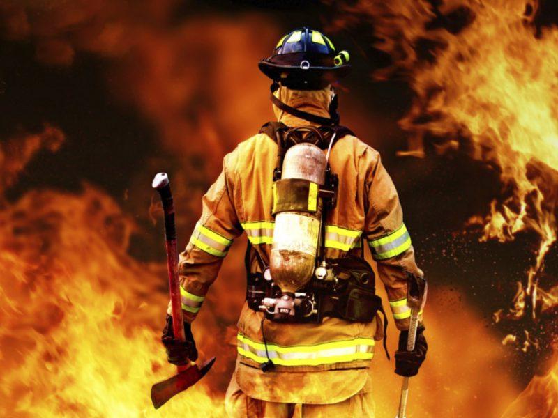 fireman staring at inferno